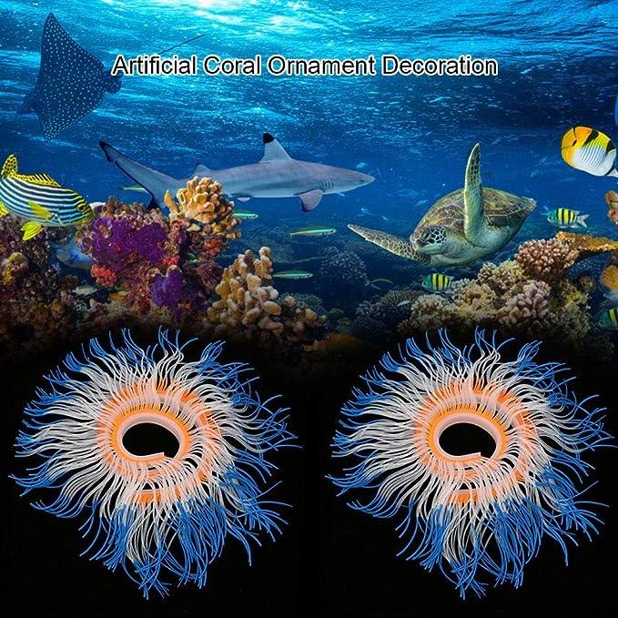 Fdit Socialme-EU Adorno de Plantas Vivid Artificial Coral para Acuario Submarino Pez Tanque Jardin Acuarios y Peceras(Azul)