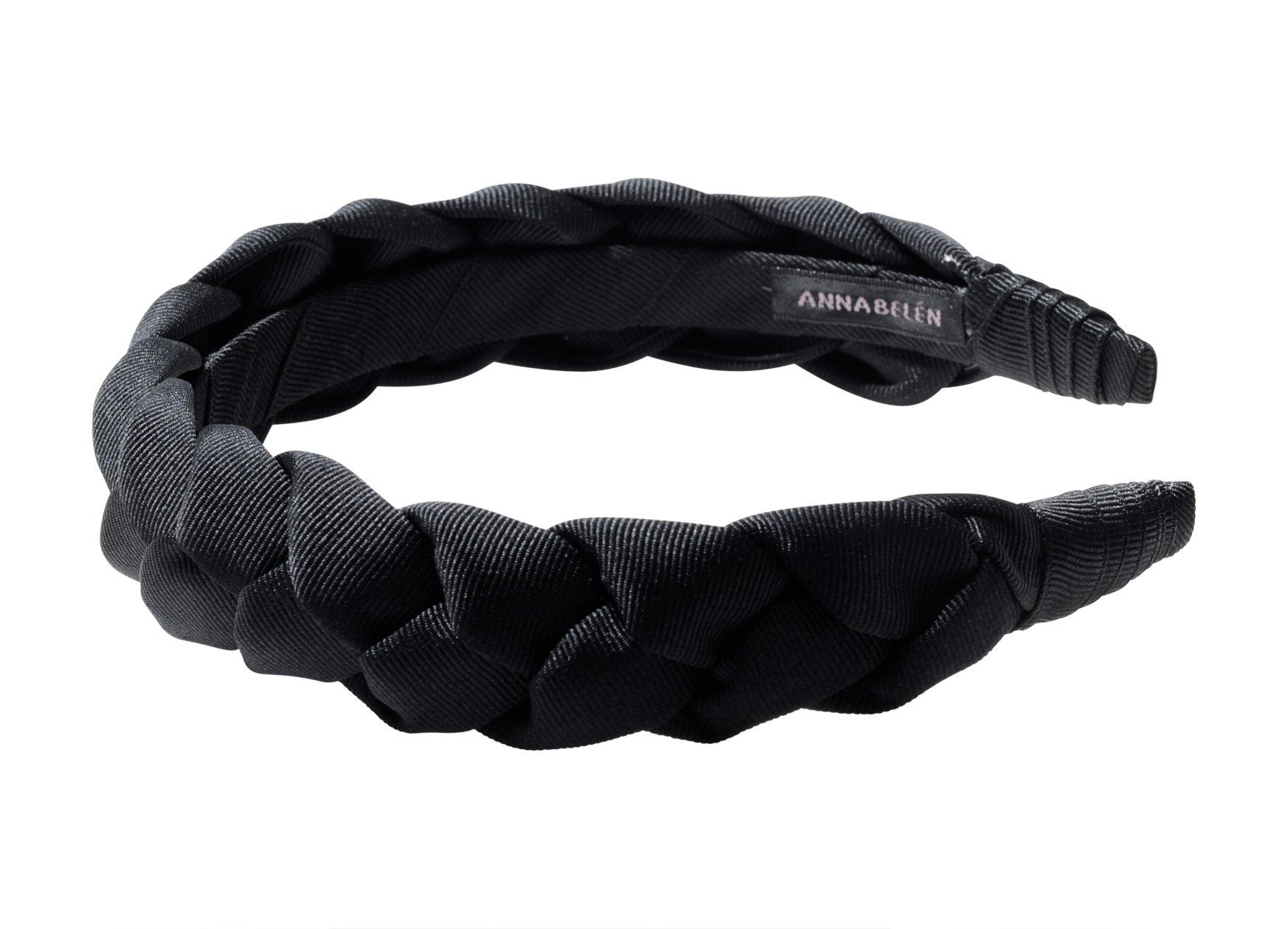 Anna Belen ''Gemma'' Braided Grosgrain Ribbon Headband O/S Black