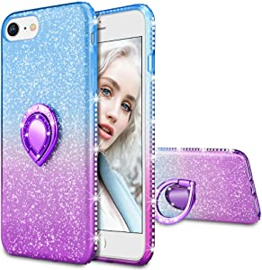 Maxdara Case for iPhone 8 iPhone 7, iPhone SE 2020 Glitter Case Shiny Bling Diamond Rhinestone Kickstand Ring Grip Holder Pretty Girls Women Case for iPhone 6/6s/7/8/SE 2020 4.7 inches (Blue Purple)
