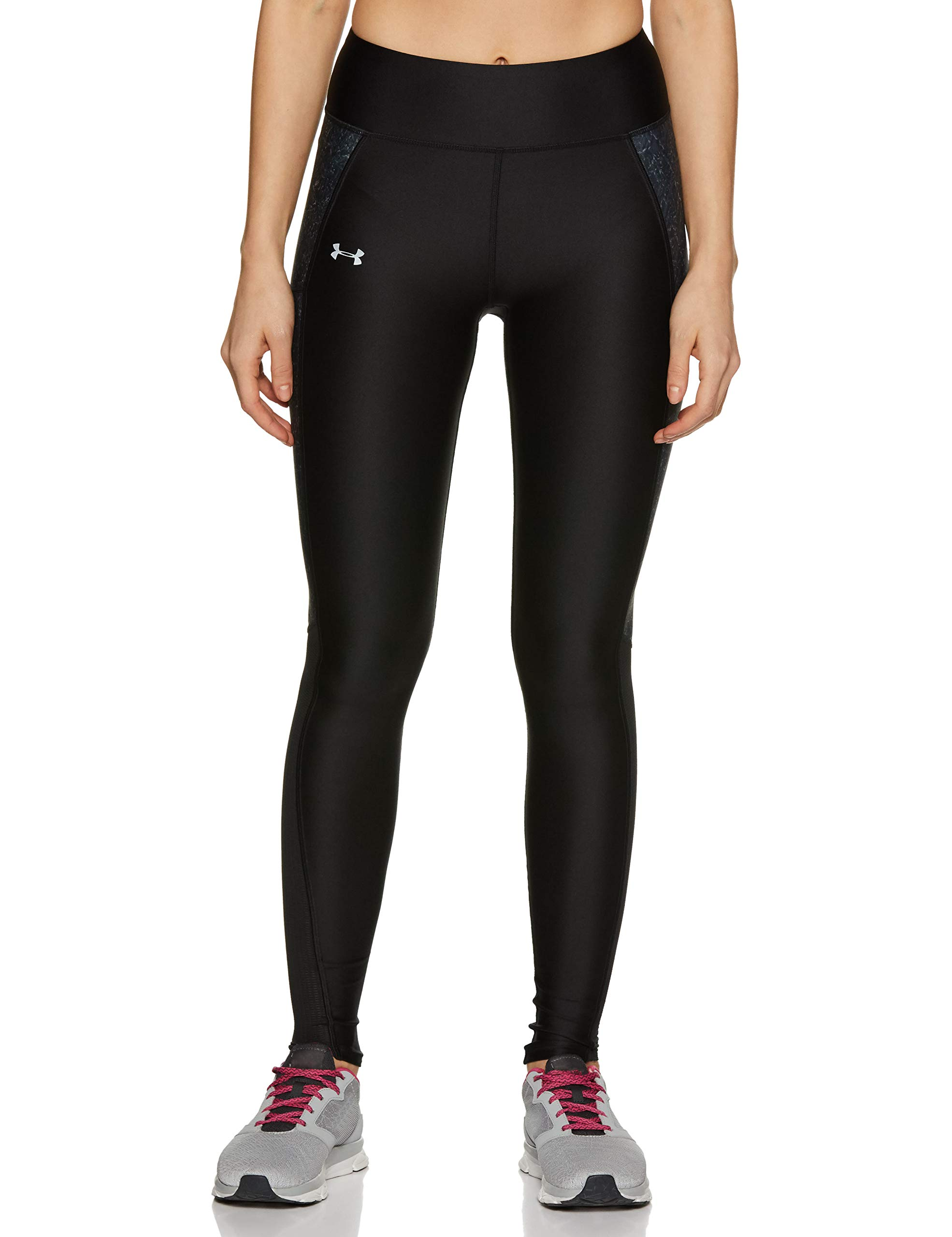 Under Armour Women's Fly-By Printed Legging,Black /Reflective, Large by Under Armour
