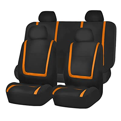 FH Group FB032ORANGE114 Orange Unique Flat Cloth Car Seat Cover (w. 4 Detachable Headrests and Solid Bench): Automotive