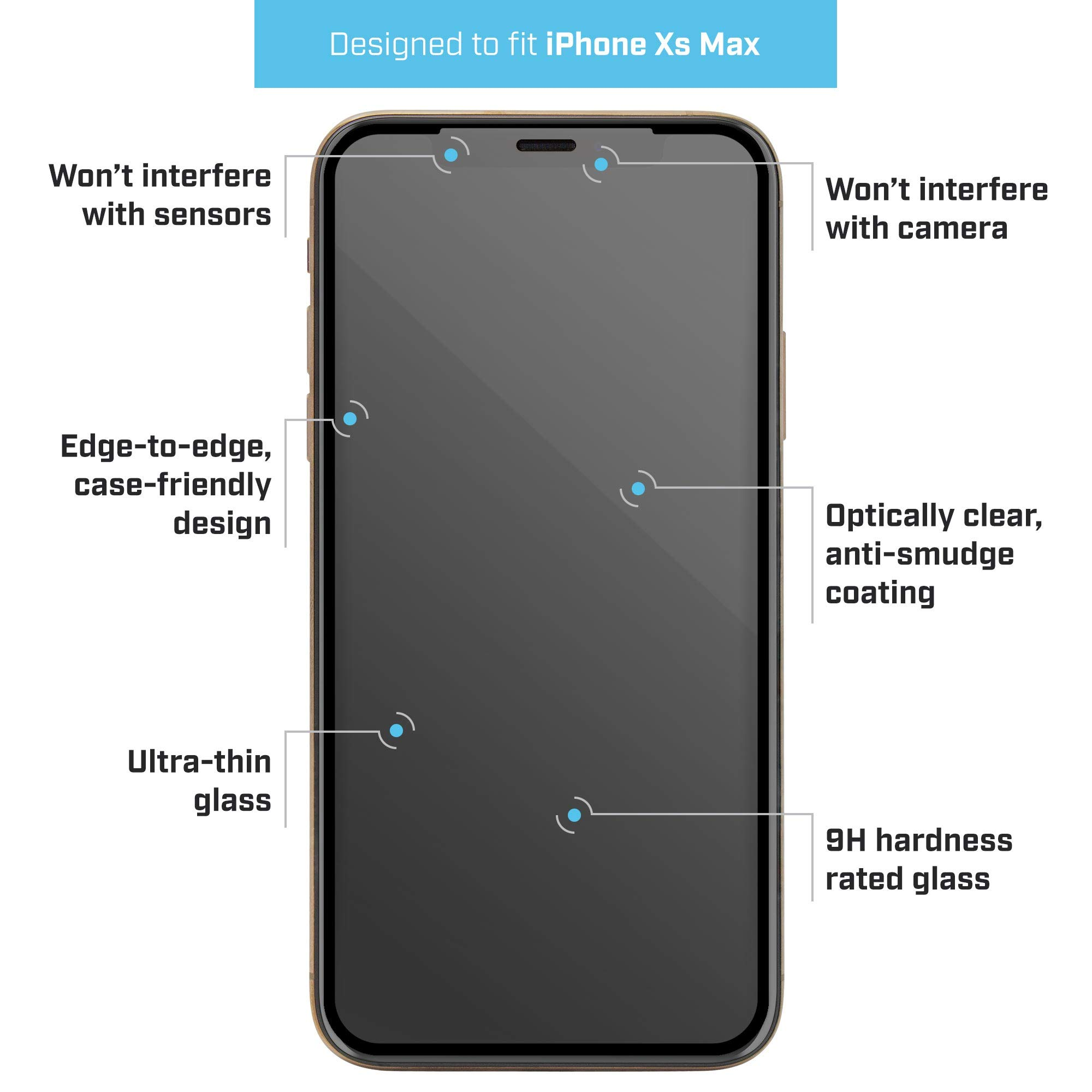 w//Border CASE Friendly Pure 2 Glass Screen Protector for Samsung Galaxy S10e Premium Glass Screen Protection BodyGuardz