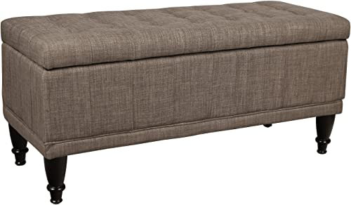 Adeco Rectangular Tufted Lift Top Storage Ottoman Bench Footstool