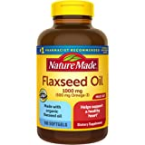 Nature Made Flaxseed Oil 1000 mg Softgels, 180 Count for Heart Health† (Packaging May Vary)