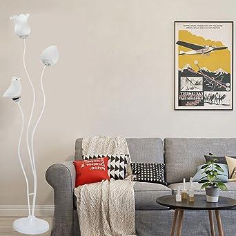 Kreative Mode Wohnzimmer Ecke Vertikale Stehlampe Vogel Und Blume
