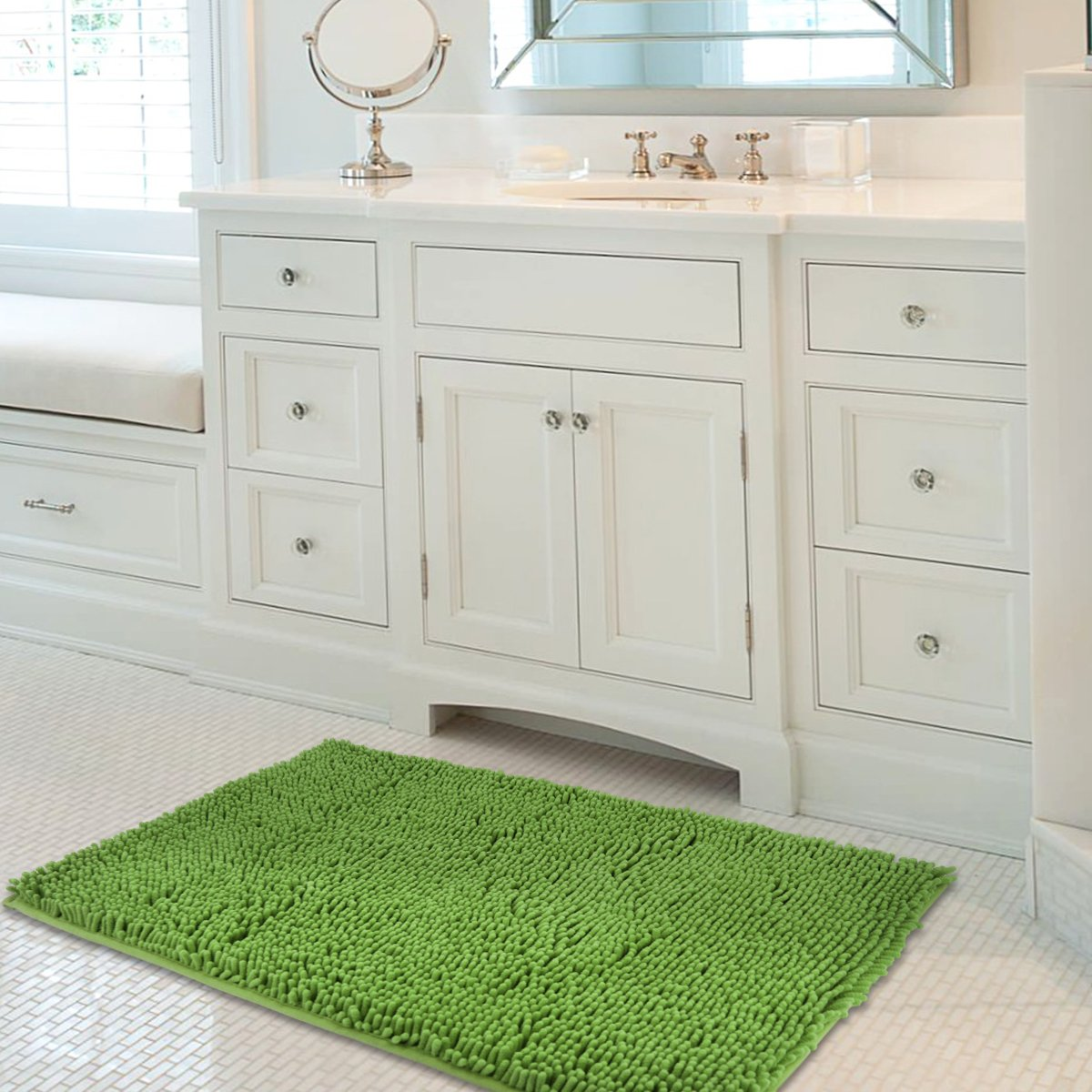 Mayshine 24x39 inch Non-slip Bathroom Rug Shag Shower Mat Machine-washable Bath mats