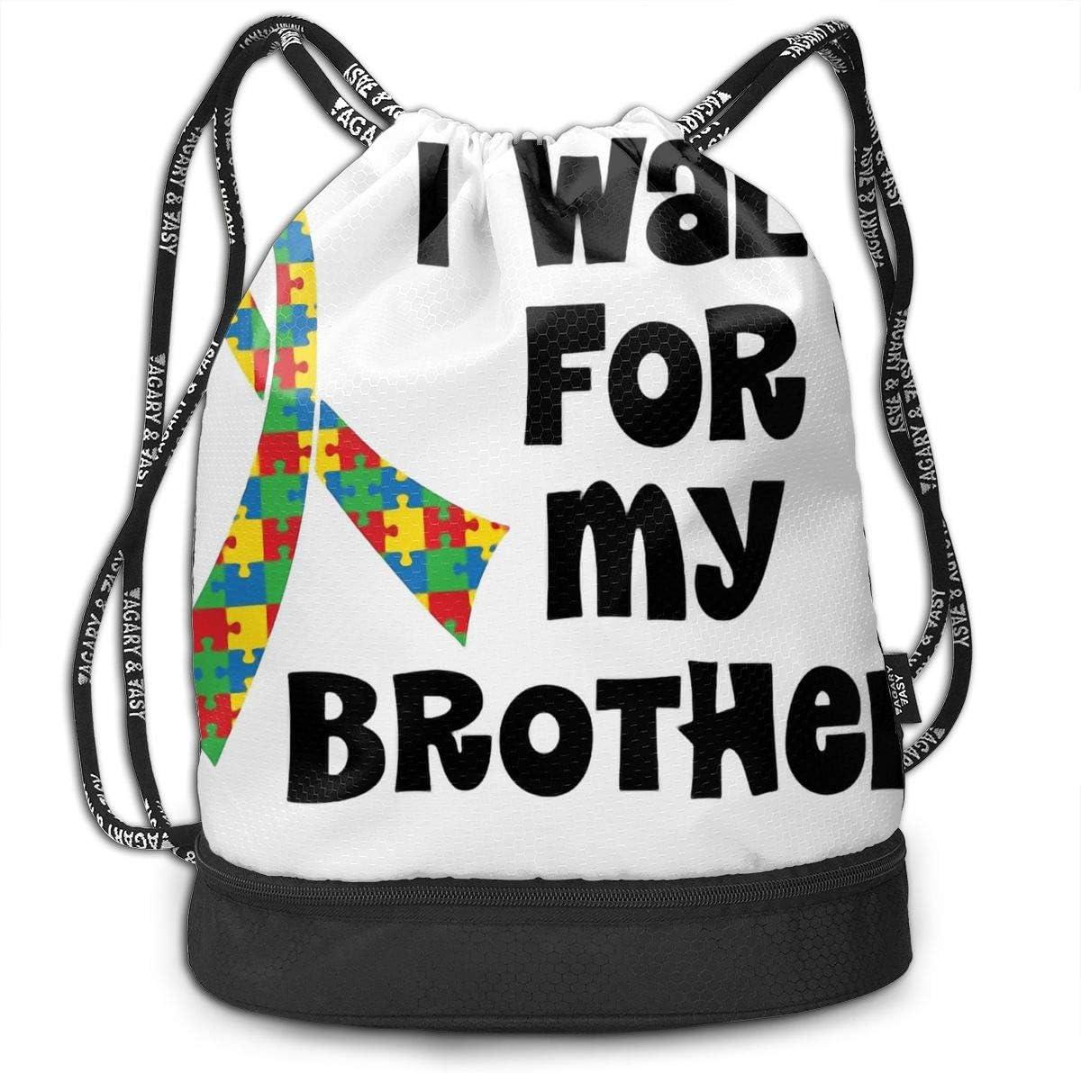 HUOPR5Q Autism Awareness Drawstring Backpack Sport Gym Sack Shoulder Bulk Bag Dance Bag for School Travel