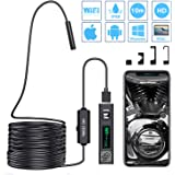 PiAEK WiFi Inspection Camera Waterproof Wireless Endoscope Semi-rigid 1200P HD Snake Soft Wire Borescope Compatible with, Samsung, iPhone, IOS, Android, Smartphone, Tablet, MAC, Laptop -32.8ft(10M)