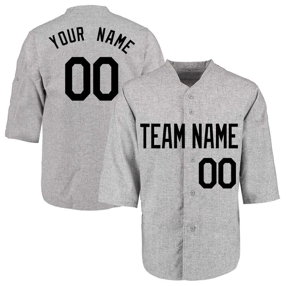 Custom Men's Gray Throwback Baseball Jerseys Button Down with Embroidered Team Name Player Name and Numbers,Half Sleeve Black Size 3XL by DEHUI
