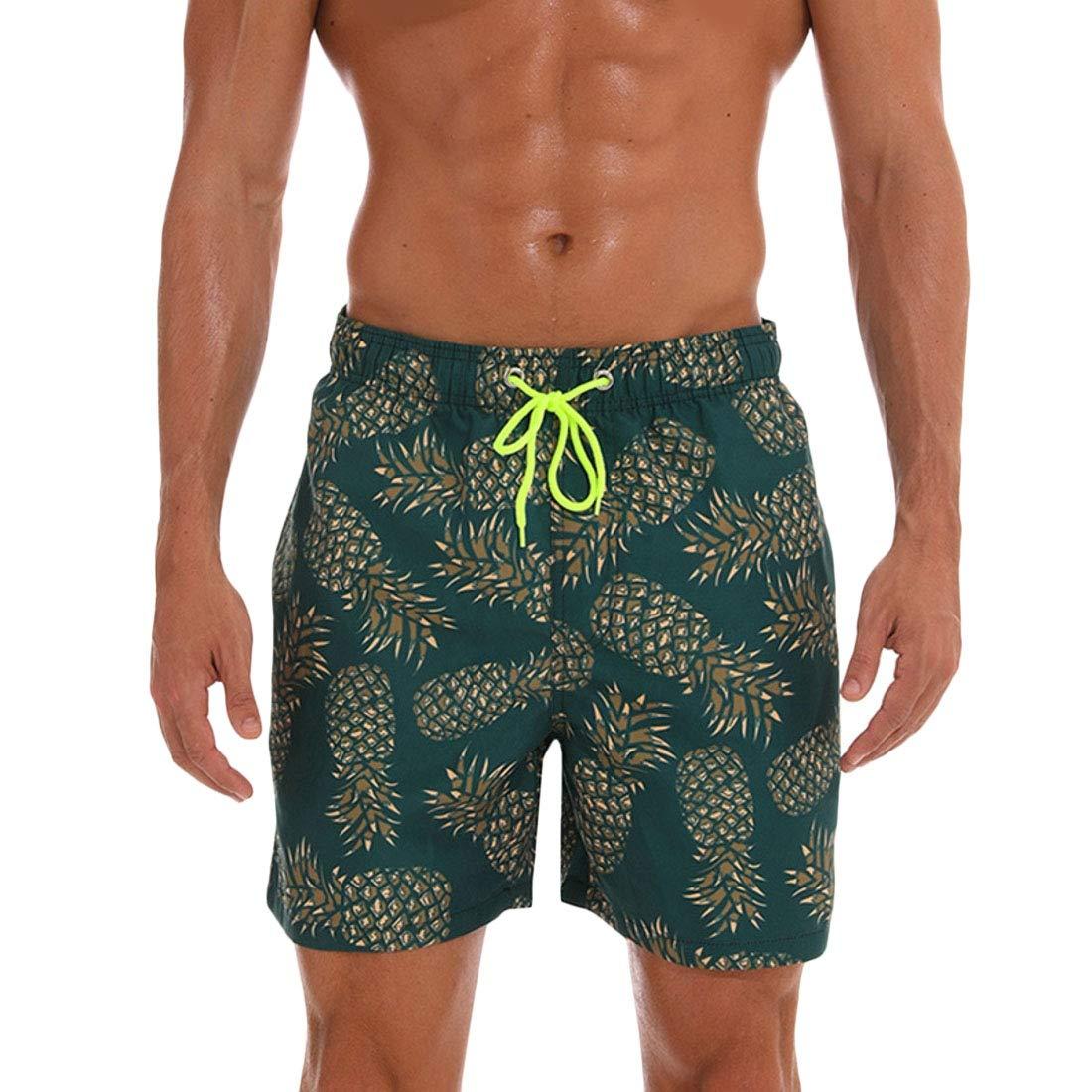 Mstyle Mens Quickly Drying Elastic Waist Floral Print Sport Flamingo Summer Beach Shorts Boardshort Swim Trunk