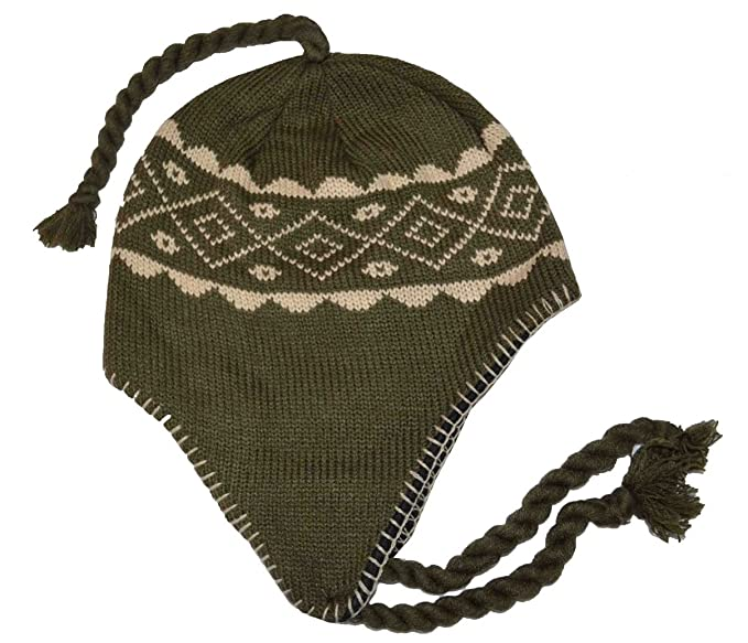 d0b60e5f7616c9 Image Unavailable. Image not available for. Color: SW Men's Peruvian Helmet  Beanie Knit Hat Olive Green
