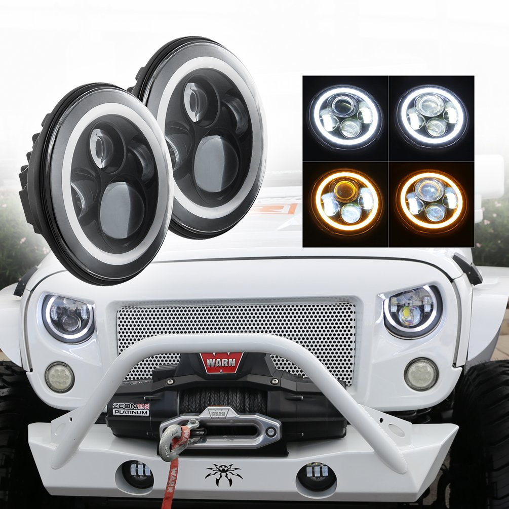 "7"" LED Headlights Bulb with White Halo Angel Eye Ring DRL"