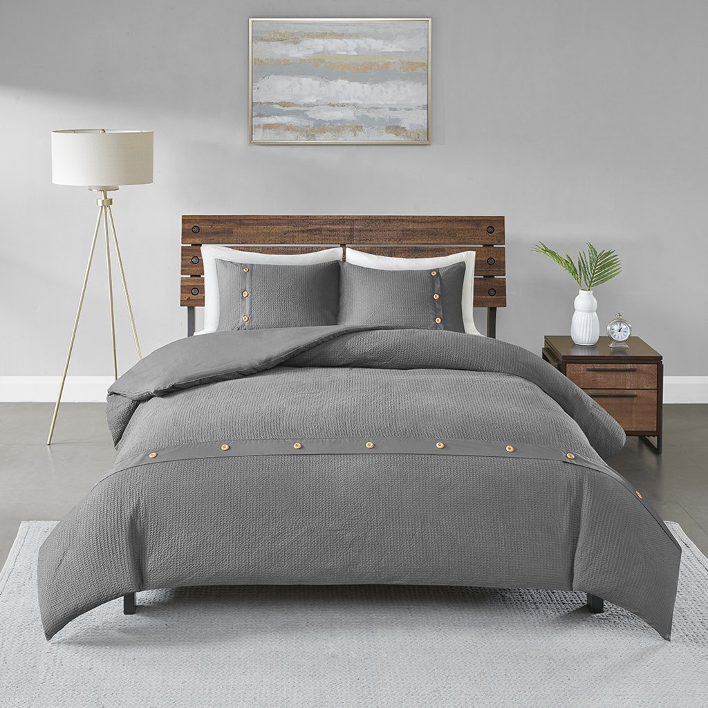 Madison Park Finley 3 Piece Cotton Waffle Weave Duvet Cover Set Grey Full/Queen by Madison Park (Image #3)