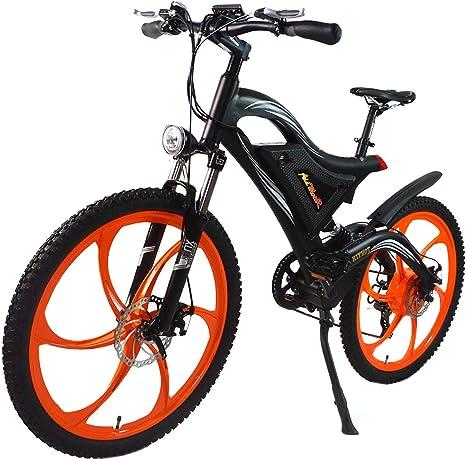 Addmotor HITHOT Bicicleta eléctrica 500 W 48 V Motor 26 Pulgadas Bicicleta eléctrica 11,6 Ah Batería de Litio Dual Suspensión Marco de aleación Mountain Ebike H2 2019 para Adultos y Hombres: Amazon.es: