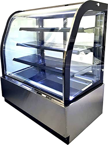 Amazon Com 36 Display Case Refrigerated Cold Deli Bakery Cake Pie Pastry Curved Glass Front Showcase Led Lighting Commercial Grade Restaurant Gl 36 Appliances