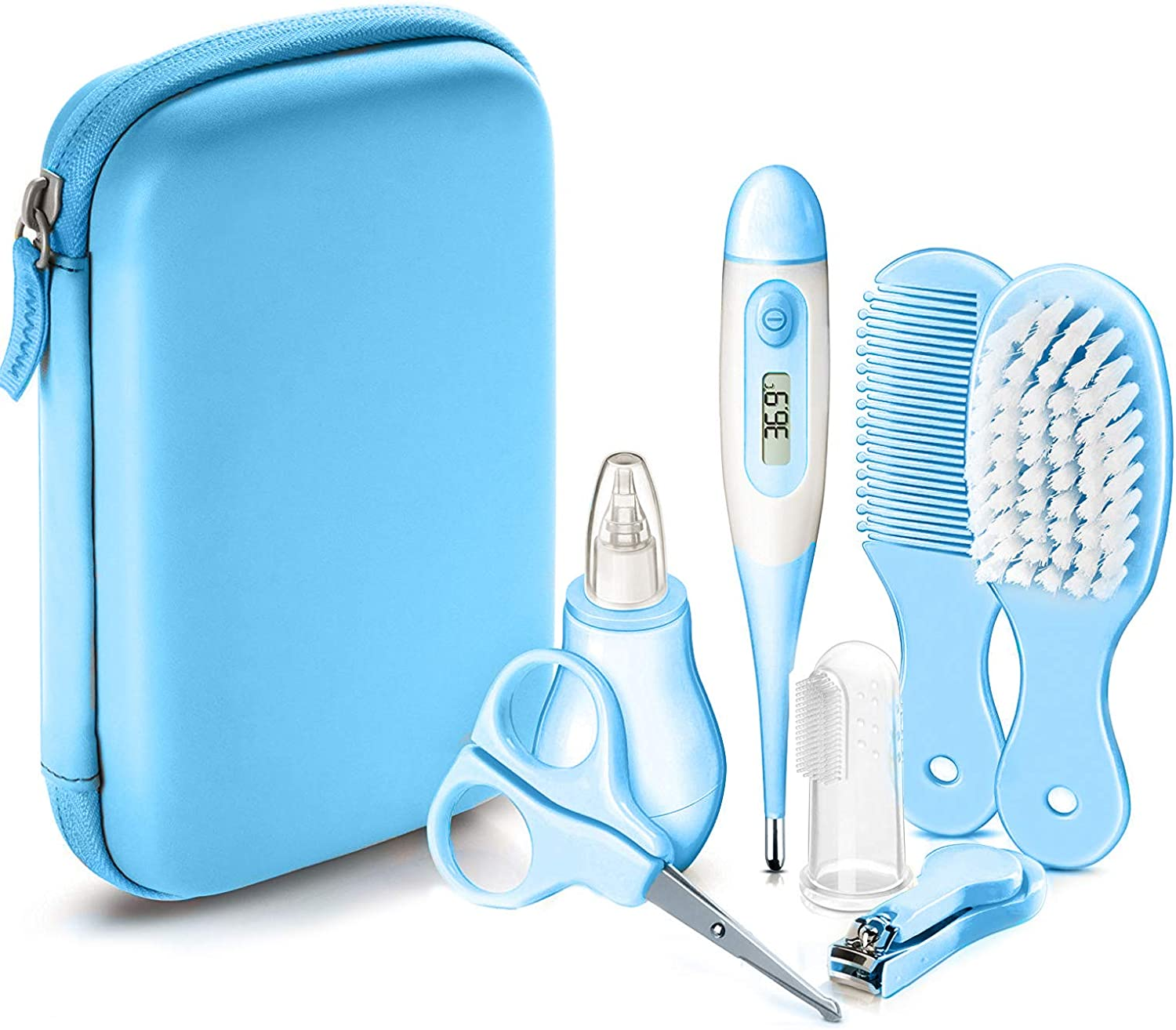 Vetté Baby Grooming Kit - Infant Complete Nursery Care Kit with 2 Nail Trimmers, 2 Hair Brushes, 3 Nose Suction and Baby Thermometer for a Baby Shower.