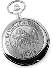 Nephew's Christening St Christopher Pewter Feature Pocket Watch, Gift From Aunty and Uncle