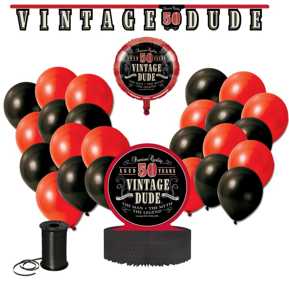 Jointed Banner Honeycomb Centerpiece Balloons and Curling Ribbon!! 50th Birthday Celebration Decor Bundle Includes Vintage Dude 50th Birthday Party Decoration Bundle