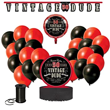 Vintage Dude 50th Birthday Party Decoration Bundle Celebration Decor Includes