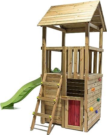 MASGAMES Parque Infantil Canigo con caseta (Duplex), Pared de Escalada y tobogán: Amazon.es: Juguetes y juegos