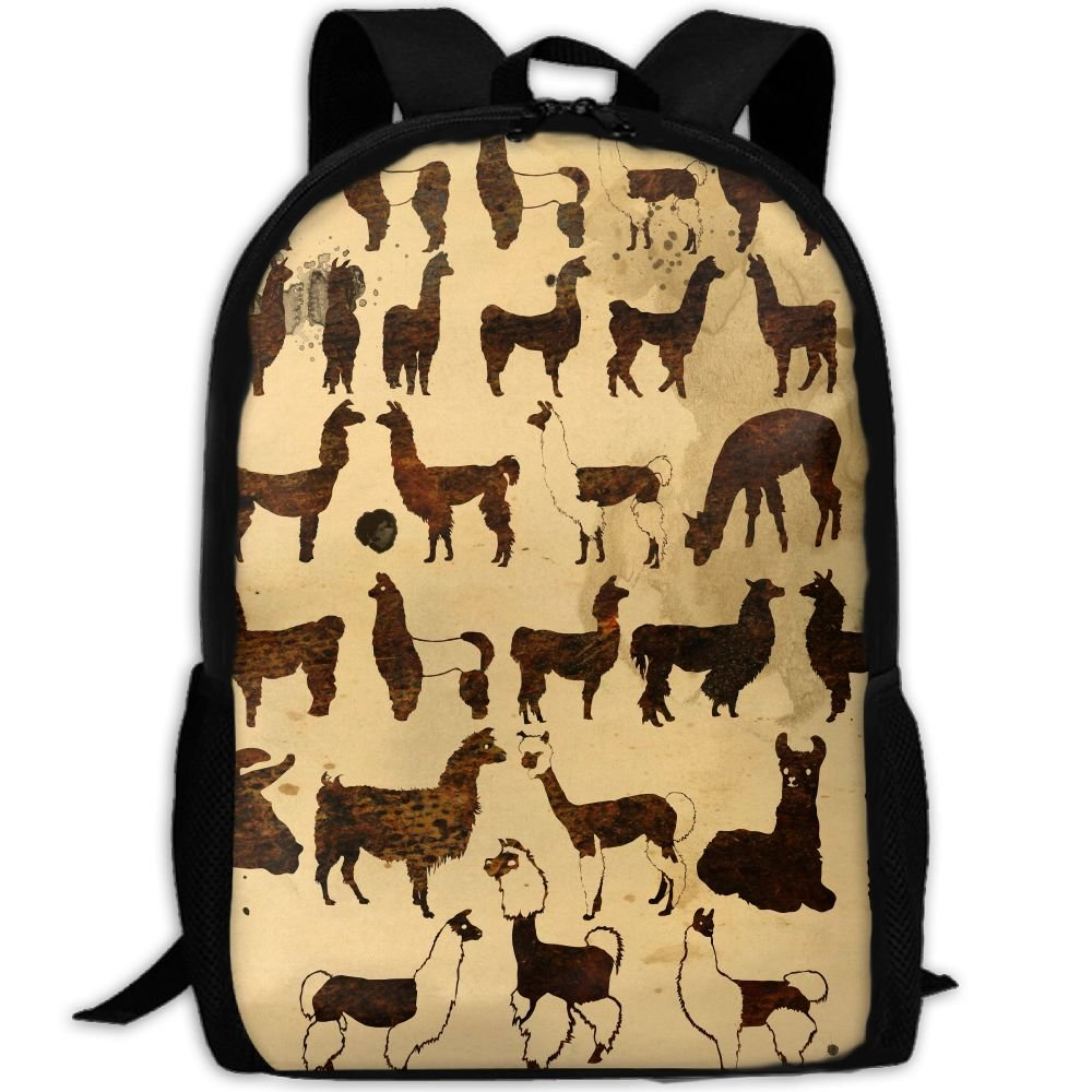 low-cost SZYYMM Llama Oxford Cloth Casual Unique Backpack, Adjustable Shoulder Strap Storage Bag,Travel/Outdoor Sports/Camping/School For Women And Men