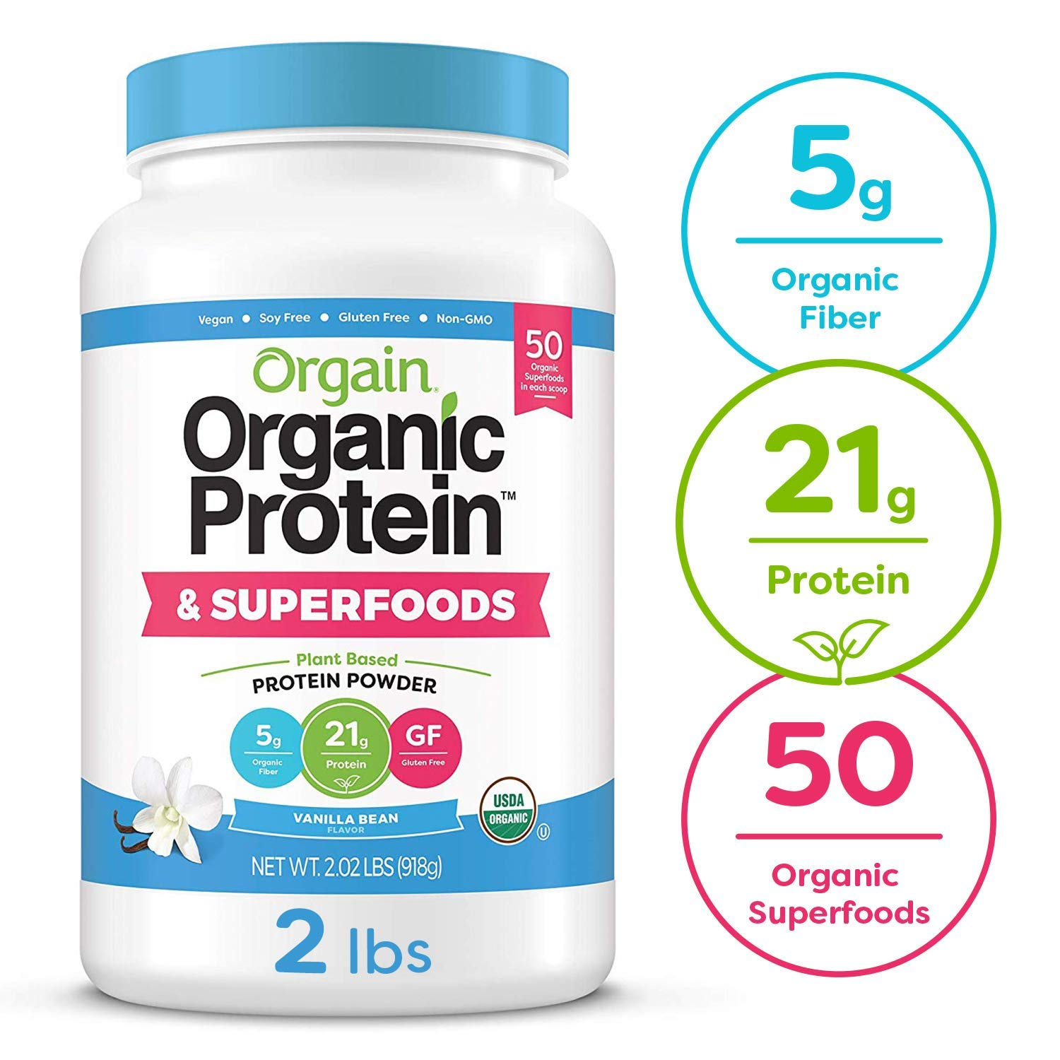 Orgain Organic Plant Based Protein + Superfoods Powder, Vanilla Bean - Vegan, Non Dairy, Lactose Free, No Sugar Added, Gluten Free, Soy Free, Non-GMO, 2.02 lb