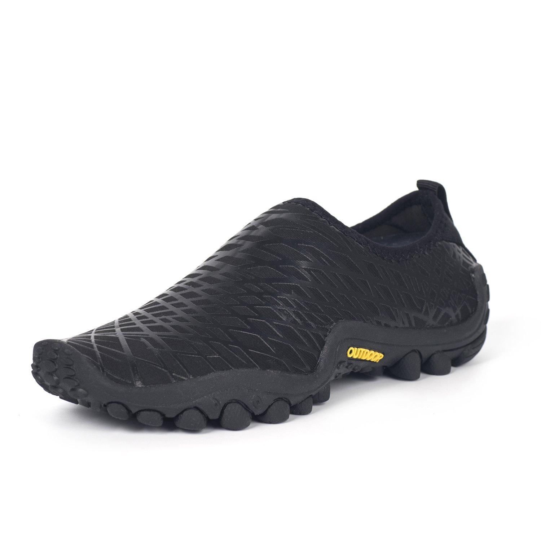 Hishoes Men and Women Ultra-Soft Quick Drying Aqua Water Shoes Lightweight Walking Sneakers Summer Anti-Slip Hiking Shoes B079GW3Z1G 45/14 B(M) US Women/10.5 D (M) US Men|Black