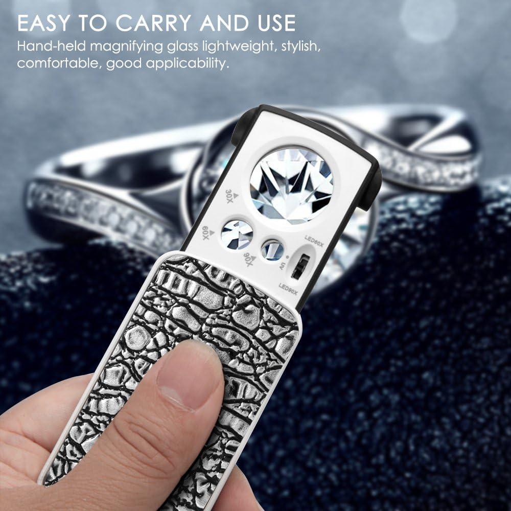 60X 90X Taschenlupe f/ür Rocks Briefmarken M/ünzen Uhren Hobby Antiquit/äten Modelle Fotos schwarz//wei/ß Schmuck Lupe Lupe mit LED-Licht AFUNTA 30X