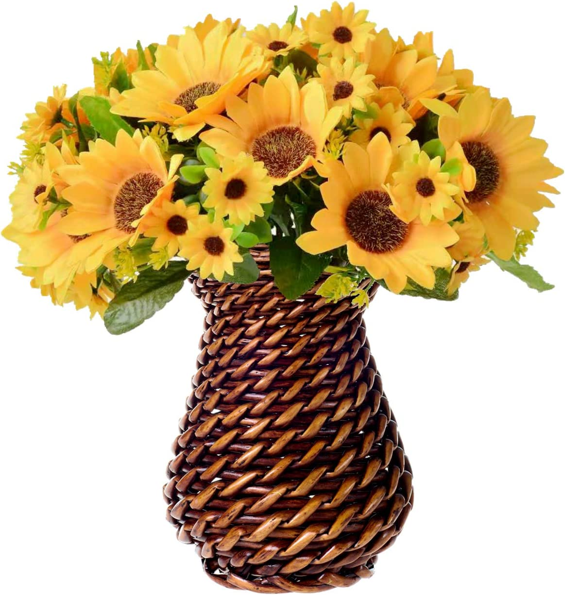 N/ A Artificial Sunflower with Handmade Rattan Vase, Fake Silk Flowers in Vase Decoration for Table Home Office Wedding (Brownish Red Rattan-1)