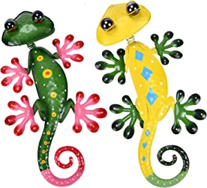 YEAHOME Metal Gecko Wall Decor - 15'' Lizard Art Wall Decorations with Shaking Head and Shining Eyeballs for Yard, Fence, Garden, Home, Outdoor Wall Sculptures, Set of 2, Easter Gifts for Kids