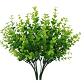 "Senjie 4pcs Artificial Shrubs Plants 14"" Eucalyptus Leaves Fake Bushes Home Garden DIY Decor Light Green"