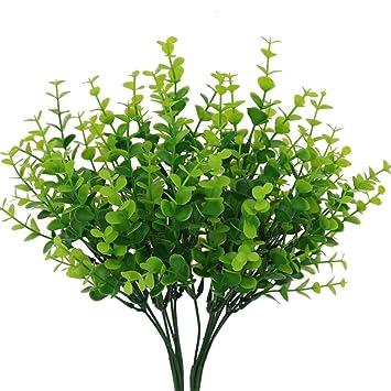 Senjie 4pcs Artificial Shrubs Plants 14u0026quot; Eucalyptus Leaves Fake Bushes  Home Garden DIY Decor Light