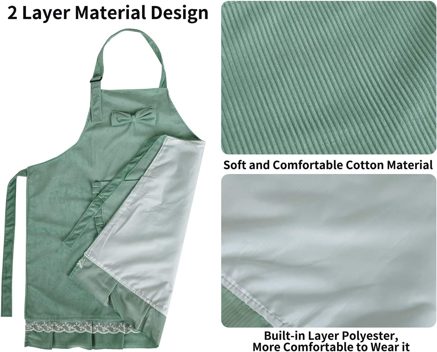 Aprons for Women 2 Layer Cotton Kitchen Apron With Adjustable Neck Strap and Large Pocket Personalised Apron for BBQ Cooking Baking Cleaning Workshop Bar