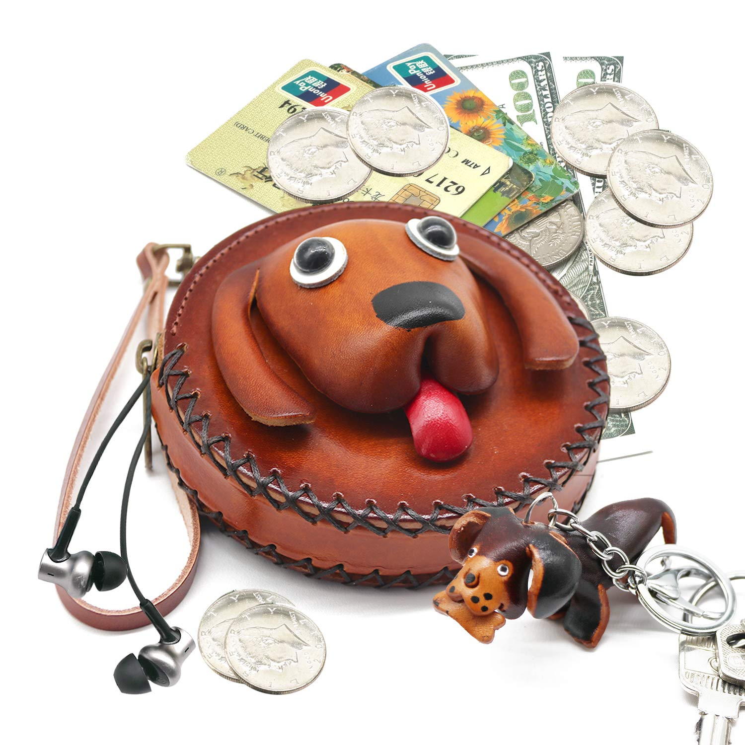f8113002a68bd Coin Purse for Women Animal Pouches Leather Handcrafted Round Change Purse  with Strap Keyring