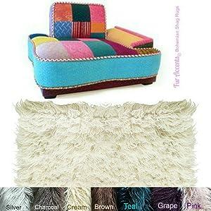 Thick Shaggy Bohemian Style Toss Rug - Long Hair Mongolian Faux Fur - Designer Art Carpets by Fur Accents USA (5'x10', Black)