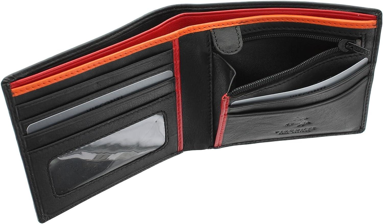 Visconti Bond Collection Le Chiffre Portefeuille en Cuir pour Hommes RFID Blocage BD707 Noir//Orange//Rouge