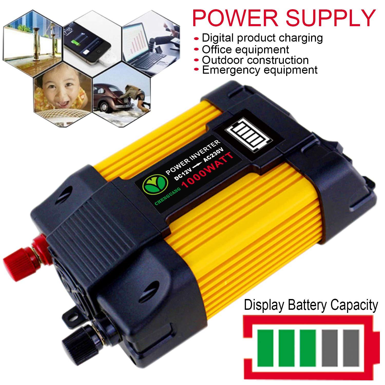 Convertisseur 12V 220V 1000W Transformateur de Tension 2 Ports USB et LED Display Onduleur de Tension Voiture Onde sinuso/ïdale modifi/ée Puissance De Voiture Power Inverter