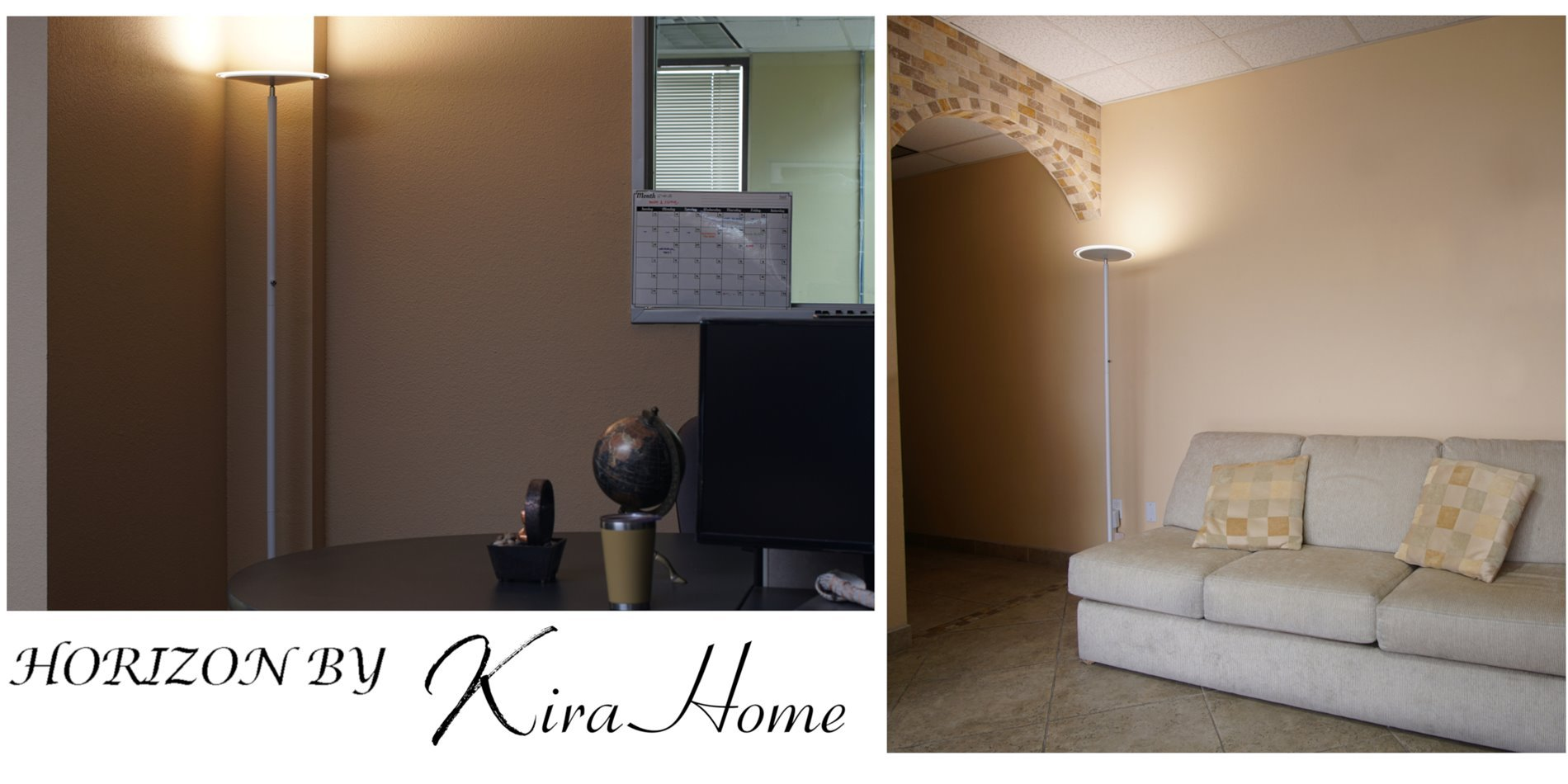 Kira Home Horizon 70'' Modern LED Torchiere Floor Lamp (36W, 300W eq.), Glass Diffuser, Dimmable, Timer and Wall Switch Compatible, Adjustable Head, 3000k Warm White Light, White Finish by Kira Home (Image #4)