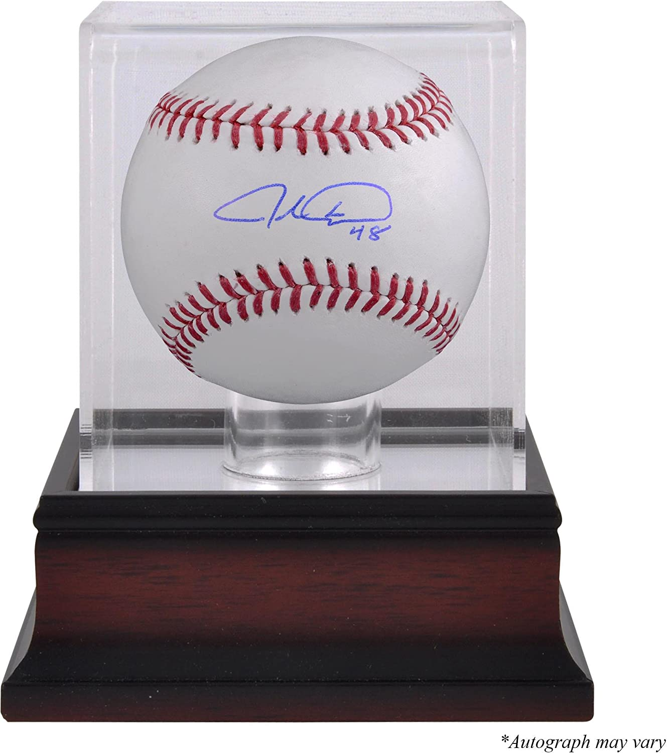Jacob deGrom Autographed Baseball and Mahogany Baseball Display Case - Fanatics Authentic Certified - Autographed Baseballs