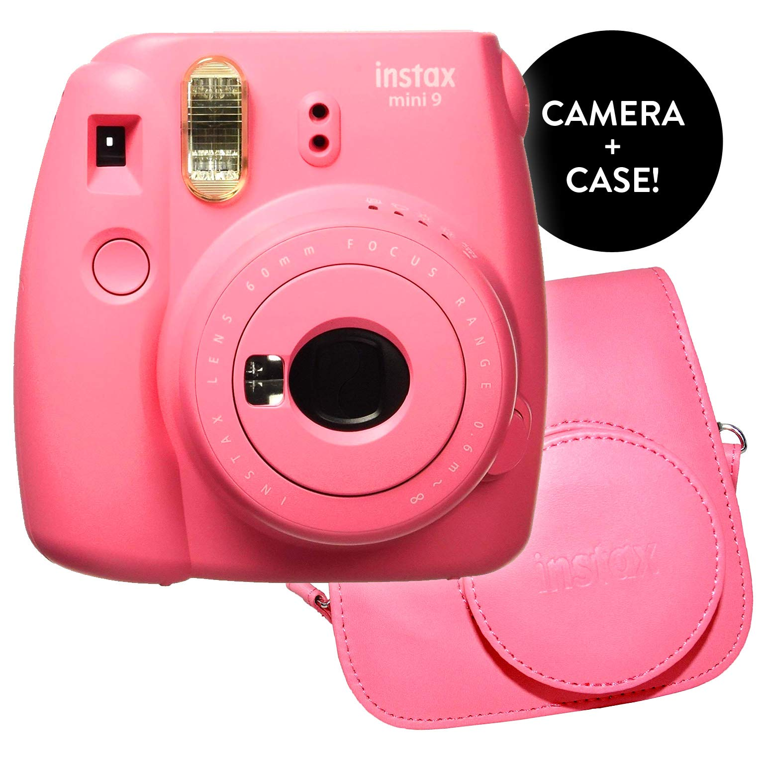 Fujifilm Instax Mini 9 Instant Print Camera - Certified Refurbished Bundle with New Instax Mini 9 Groovy Camera Case | Matching Colors for Case and Instax Mini 9 Camera (Flamingo Pink)