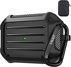 Valkit Compatible with AirPods Pro Case Cover, Full-Body Rugged Protective Cover Shock Proof Case Men Women with Keychain Designed for Apple Airpods Pro Charging Case - Black