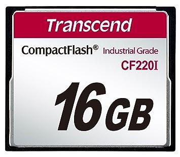 Transcend 16GB Industrial Temp CF220I CF Memoria Flash CompactFlash SLC - Tarjeta de Memoria (16 GB, CompactFlash, SLC, 40 MB/s, Negro)