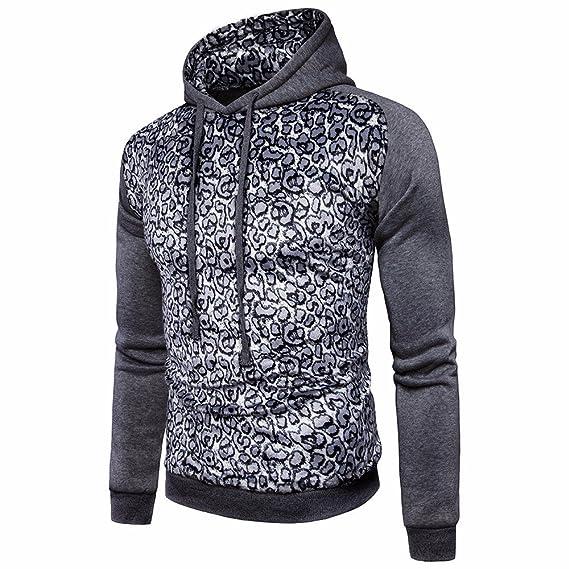 Yanhoo Chaqueta de Jersey con Estampado de Leopardo y Estampado de Hombre de Hombre Hombre Leopard Coat Jacket Sweater Sweatshirt Hoodie Long Sleeve ...