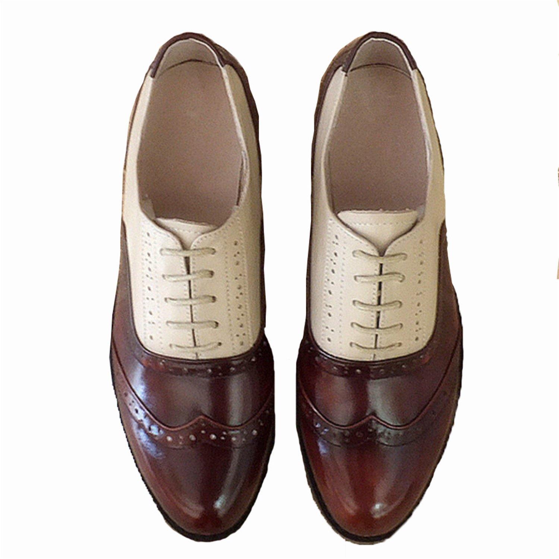 Amazon.com | Frozac Mujeres de Cuero genuino Zapatos Oxford Mujer Hecho a Mano Vintage Retro Encaje mocasines Brown Mujeres | Sandals