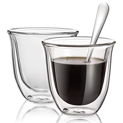 double wall espresso cups stainless steel hiware double wall espresso cups set 2ounce insulated shot glasses with spoons amazoncom
