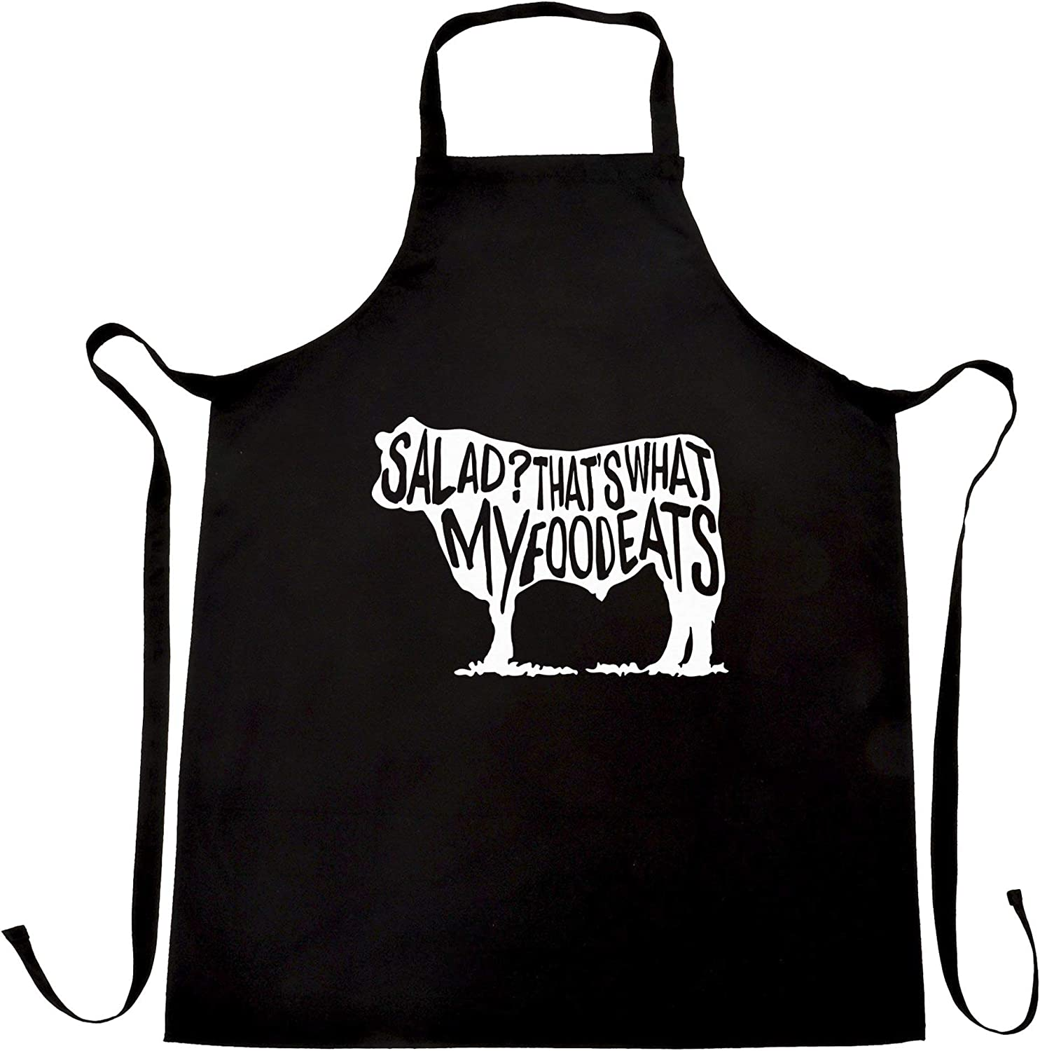 Novelty Chef's Apron Salad? That's What My Food Eats Slogan Black One Size