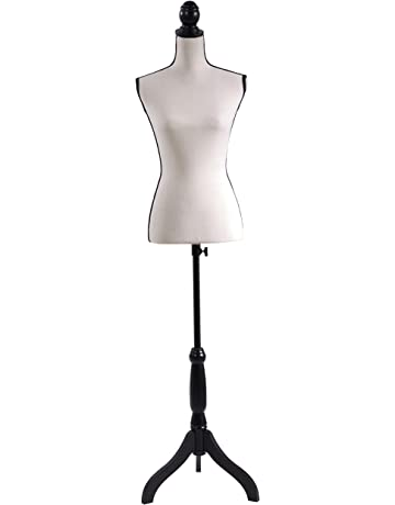 d9d71b0ce00 Beige Female Mannequin Torso Dress Form Adjustable Height Black Tripod  Stand Base Style Dress Jewelry Display