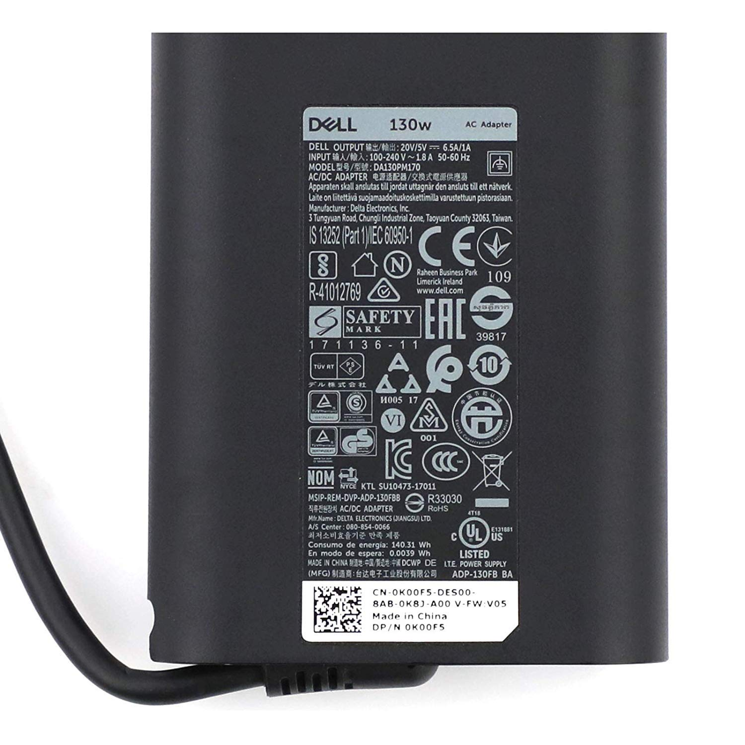 Dell 20V 6.5A 130W USB Type C 0K00F5 AC adapter for Dell XPS 2-in-1 4K Touch-Screen Laptop Model: XPS9575-7354BLK-PUS, Compatible with P/N: 0K00F5, K00F5 by Dell (Image #8)