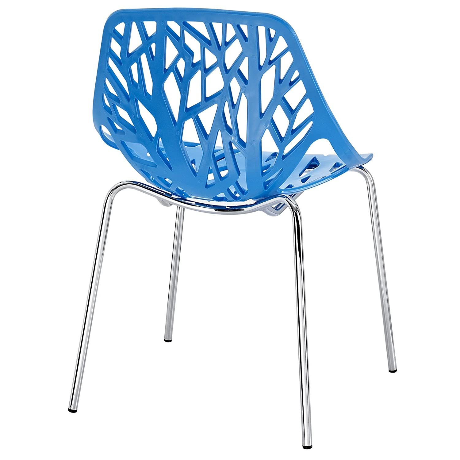 Amazon Modway Stencil Stackable Dining Side Chair in Blue