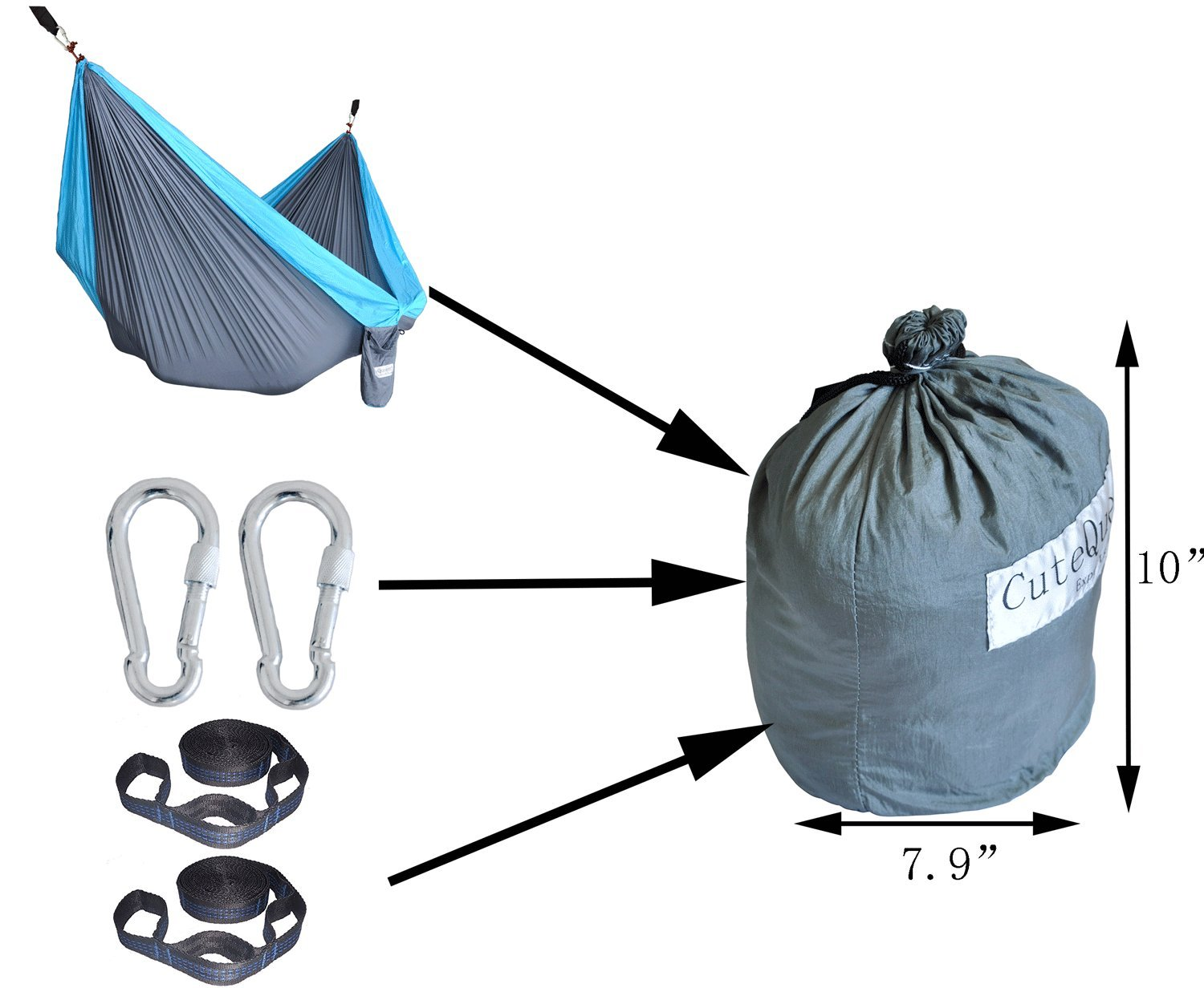 Cutequeen Trading Parachute Nylon Fabric Hammock with Tree Straps;Color: Grey/Sky Blue by Cutequeen (Image #3)